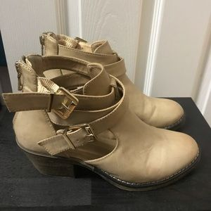 Report Tan Angelina Cutout Ankle Booties